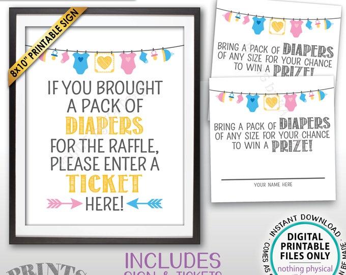 "Diaper Raffle Tickets & Sign, Enter a Raffle Ticket Here, Baby Shower Raffle, PRINTABLE 8x10"" Sign and 8.5x11"" Sheet of 2.5"" Tickets <ID>"