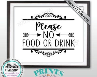 "Please No Food or Drink Sign, No Food Sign, Keep Food Out, Rules for Home, Follow the House Rules, Black & White PRINTABLE 8x10"" Sign <ID>"