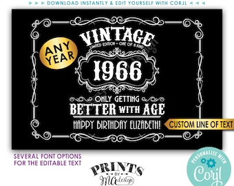 "Vintage Birthday Sign, Better with Age Liquor Themed Party, Custom PRINTABLE 24x36"" Sign, Black Background <Edit Yourself w/Corjl>"