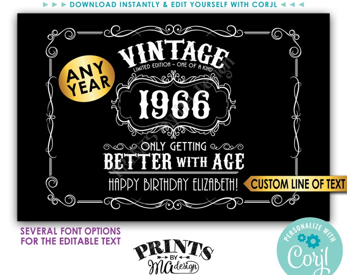 """Vintage Birthday Sign, Better with Age Liquor Themed Party, Custom PRINTABLE 24x36"""" Sign, Black Background <Edit Yourself w/Corjl>"""