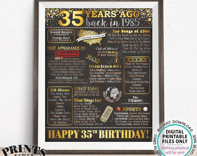 "35th Birthday Poster Board, Back in 1985 Flashback Sign, PRINTABLE 16x20"" Born in 1985 Sign, Flashback 35 Years Ago to 1985 Sign <ID>"