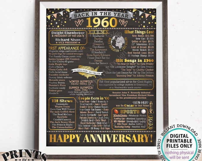 """Back in the Year 1960 Anniversary Sign, Flashback to 1960 Anniversary Decor, Anniversary Gift, PRINTABLE 16x20"""" Poster Board <ID>"""