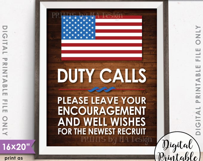 "Military Party Decor, Leave your Encouragement and Well Wishes, Boot Camp, Brown Rustic Wood Style 8x10/16x20"" Printable Instant Download"