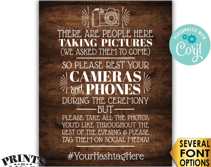 "Unplugged Wedding Ceremony, We Hired Photographers & Asked Them to Come, PRINTABLE Rustic Wood Style 16x20"" Sign <Edit Yourself with Corjl>"