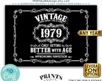 "Vintage Birthday Sign, Getting Better with Age Liquor Themed Party, Black & White PRINTABLE 24x36"" Sign <Edit Yourself with Corjl>"