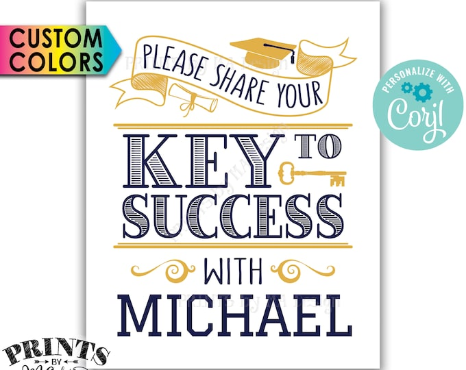 "Graduation Key to Success Sign, PRINTABLE 8x10"" Graduation Party Decoration <Edit Yourself with Corjl>"