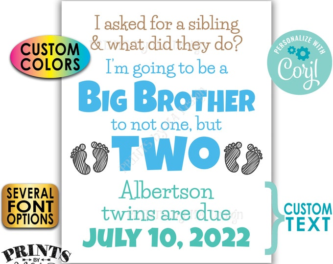 "I'm Going to be a Big Brother to Twins Pregnancy Announcement, Custom PRINTABLE 8x10/16x20"" Twins Reveal Sign <Edit Yourself with Corjl>"