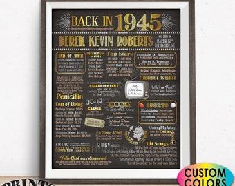 "Back in 1945 Birthday Poster Board, Flashback to 1945 Birthday Decoration, B-day Gift, Custom PRINTABLE 16x20"" 1945 Birthday Sign"