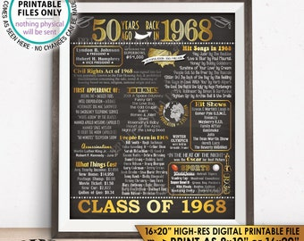 "Class of 1968 Graduation 50th Reunion 1968 Graduating Class, Flashback 50 Years Instant Download PRINTABLE 8x10/16x20"" Chalkboard Style Sign"