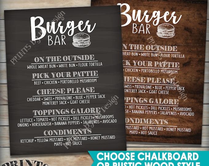 """Burger Menu Sign, Build Yourself a Burger Sign, Choose the Style PRINTABLE 8x10/16x20"""" Burger Bar Sign"""