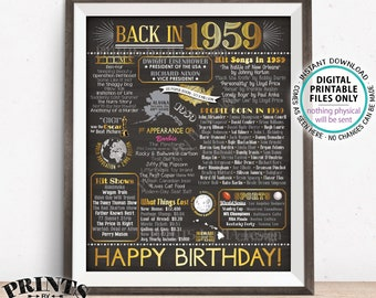 """1959 Birthday Flashback Poster, Back in 1959 Birthday Decorations, '59 B-day Gift, PRINTABLE 8x10/16x20"""" Chalkboard Style B-day Sign <ID>"""