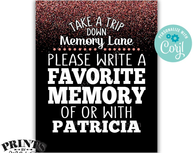 "Memory Sign, Take a Trip Down Memory Lane and Share a Favorite Memory, 8x10"" PRINTABLE Rose Gold Glitter Sign <Edit Yourself with Corjl>"
