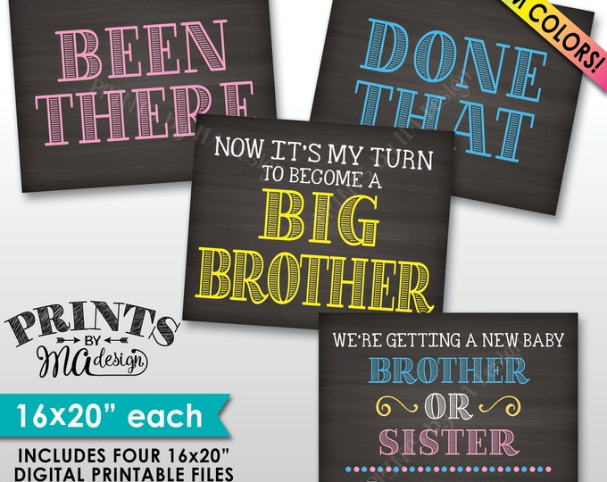 4th Baby Pregnancy Announcement Signs, Been There Done That Now It's My Turn to Become a Big Brother, 4 Chalkboard Style PRINTABLE Signs