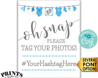 Baby Shower Hashtag Sign, Oh Snap Please Tag Your Photos, It's a Boy, Blue Clothesline, PRINTABLE Sign <Edit Yourself with Corjl>