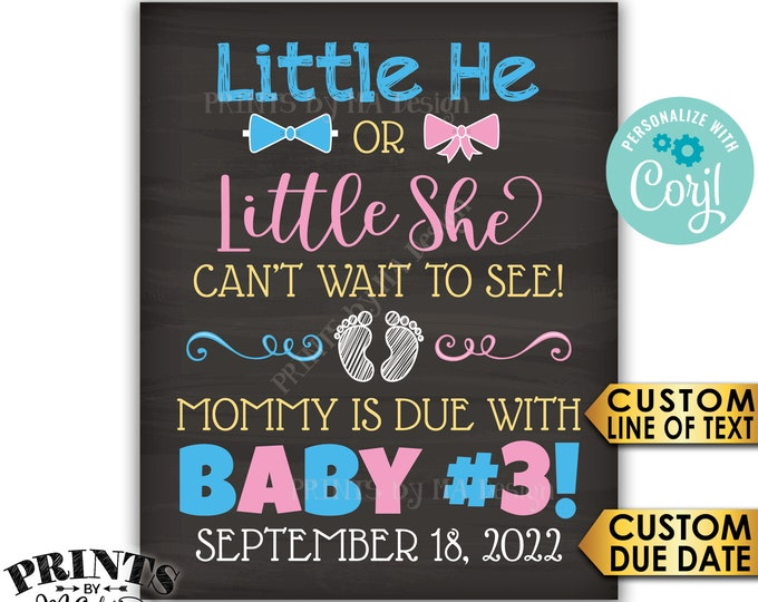 Little He or Little She Can't Wait to See Baby #3 Pregnancy Announcement Sign, PRINTABLE Chalkboard Style Reveal <Edit Yourself with Corjl>
