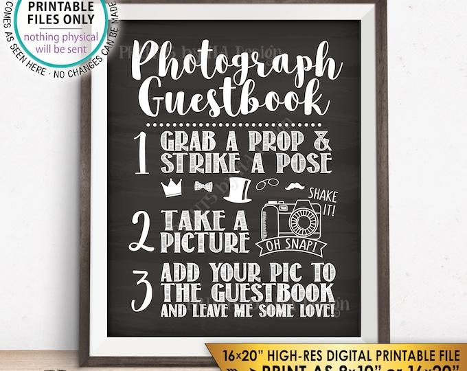 "Photograph Guestbook Sign, Add Your Picture to My Guest Book Sign, Photo Guestbook, Chalkboard Style PRINTABLE 8x10/16x20"" Instant Download"