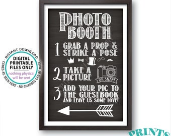 """Photobooth Sign, Arrow Left Photo Booth Wedding Sign, Add photo to Guest Book Sign, Guestbook, PRINTABLE 24x36"""" Chalkboard Style Sign <ID>"""
