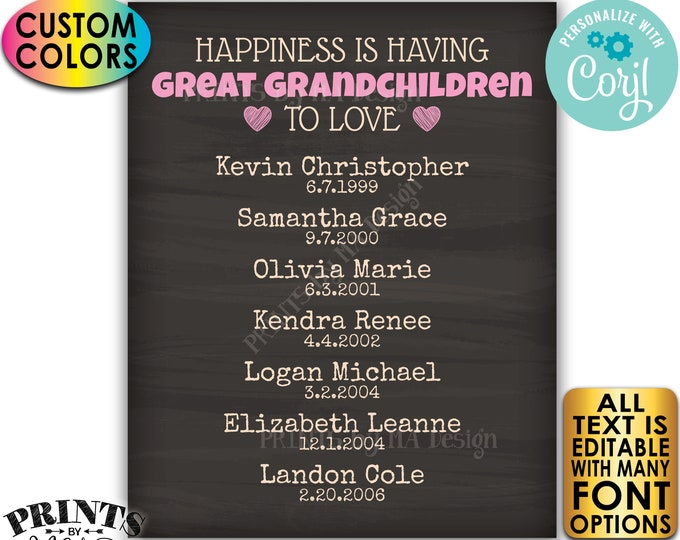 Great Grandparent Gift, List of Great Grandkids, PRINTABLE Chalkboard Style Great Grandchildren Sign <Edit Yourself w/Corjl>