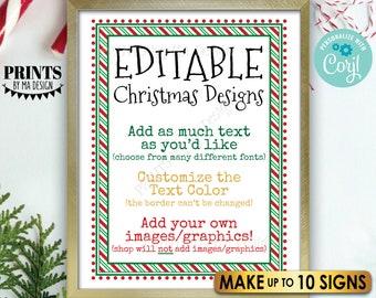 "Editable Christmas Signs, Add Text/Graphics, Matches Elf Designs, 10 Custom PRINTABLE 8.5x11"" Portrait Digital Files <Edit Yourself w/Corjl>"