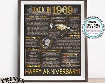 "Back in 1969 Anniversary Poster Board, Flashback to 1969 Anniversary Decor, Anniversary Gift, PRINTABLE 16x20"" Sign <ID>"