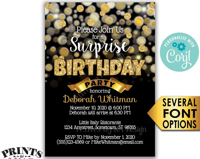 "Surprise Birthday Party Invitation, Black & Gold Glitter Invite, PRINTABLE 5x7"" Golden B-day Invite <Edit Yourself with Corjl>"