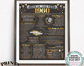 "Back in the Year 1960 Poster Board, Remember 1960 Flashback USA History, Birthday Anniversary Reunion Retirement, PRINTABLE 16x20"" Sign <ID>"