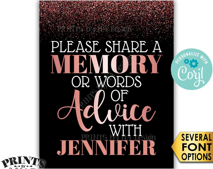 "Memory or Advice Sign, Please Share a Memory or Words of Advice, PRINTABLE 8x10/16x20"" Rose Gold Glitter Sign <Edit Yourself with Corjl>"