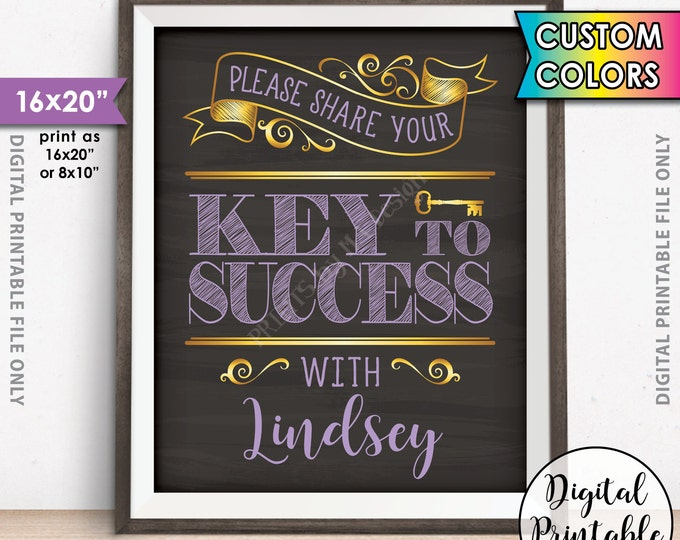 """Please share your Key to Success, Share your Advice with the Graduate, Bride, Groom, Retiree, 8x10/16x20"""" Chalkboard Style Printable Sign"""