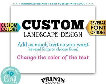 "Custom Sign, Choose Your Text and Colors, One PRINTABLE 8x10/16x20"" Landscape Sign <Edit Yourself with Corjl>"