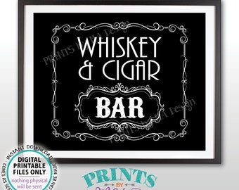 "Whiskey & Cigar Bar Decor, Whiskey and Cigar Bar Sign, Better with Age Vintage Whiskey Gift, Black and White PRINTABLE 8x10/16x20"" Sign <ID>"