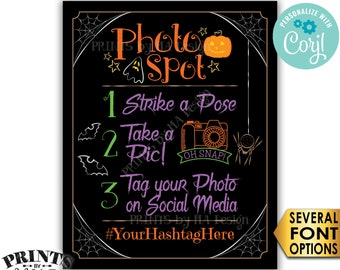 "Halloween Party Photo Spot Sign, Tag your Photo on Social Media, PRINTABLE 8x10/16x20"" Spooky Hashtag Sign <Edit Yourself with Corjl>"