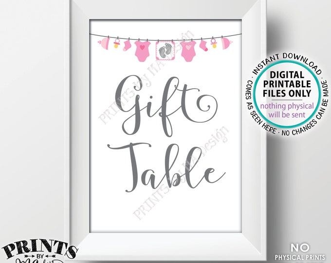 """Baby Shower Gift Table Sign, Baby Shower Gifts, Pink Baby Shower Decoration, It's a Girl, Clothesline, PRINTABLE 5x7""""  Baby Shower Sign <ID>"""