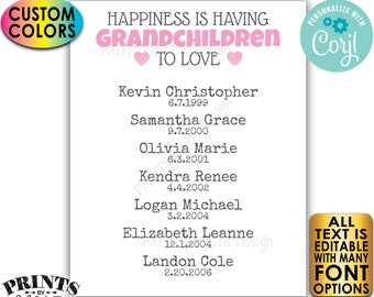 "Grandparent Gift for Grandparents Grandma Grandpa, List of Grandkids, PRINTABLE 8x10/16x20"" Grandchildren Sign <Edit Yourself w/Corjl>"