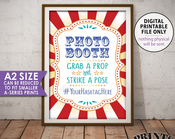 Photobooth Sign, Hashtag Sign, Carnival Theme Party Sign, Carnival Photo Booth, Circus Party Sign, PRINTABLE A2 size Carnival Photo Sign