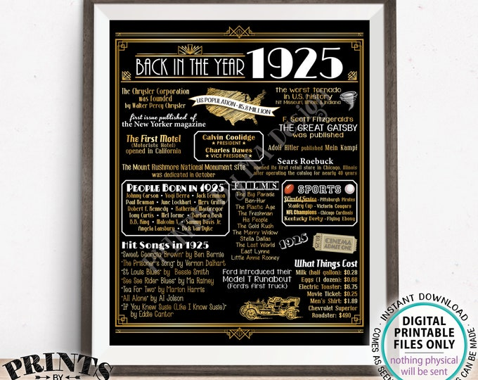 "Back in the Year 1925 Sign, Born in 1925 Art Deco Flashback Birthday Party Decoration, 1925 USA History, PRINTABLE 16x20"" Sign <ID>"