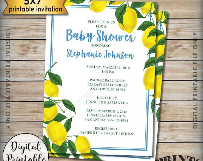 "Lemon Baby Shower Invitation, Lemon Invitation, Lemon Shower Invite, Tropical Baby Shower Invitation, 5x7"" Digital Printable File"