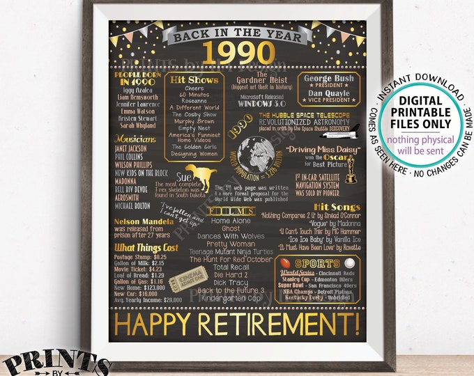 "Back in 1990 Retirement Party Sign, Flashback to 1990 Poster Board, PRINTABLE 16x20"" Retirement Party Decoration <ID>"