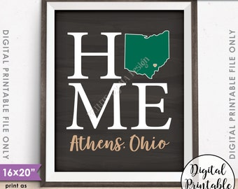 "Athens Ohio Sign, Home Ohio University Home Sign Decor, OU Bobcats, Ohio U Sign, PRINTABLE 8x10/16x20"" Chalkboard Style Instant Download"