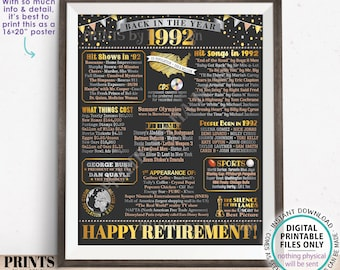"""Back in the Year 1992 Retirement Party Poster Board, Flashback to 1992 Sign, PRINTABLE 16x20"""" Retirement Party Decoration <ID>"""