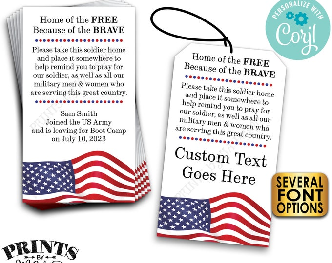 "Please Pray for Our Soldier Tags/Cards, US Military Boot Camp Send-off, Take a Soldier, PRINTABLE 2x3.5"" Cards <Edit Yourself with Corjl>"