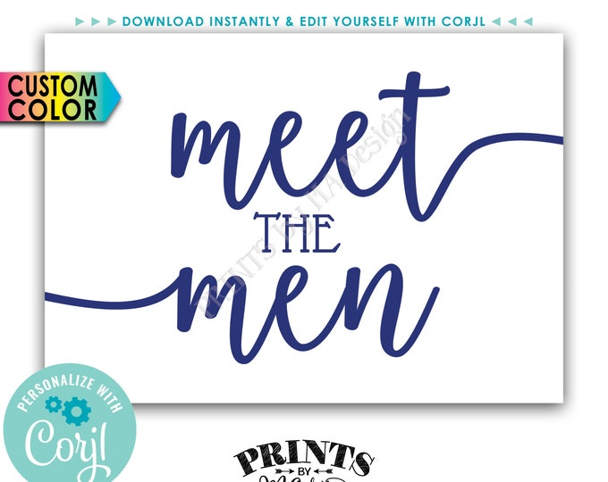 """Meet the Men Sign, Bridal Party Introduction, Groomsmen Display, PRINTABLE 5x7"""" Sign <Edit Color Yourself with Corjl>"""