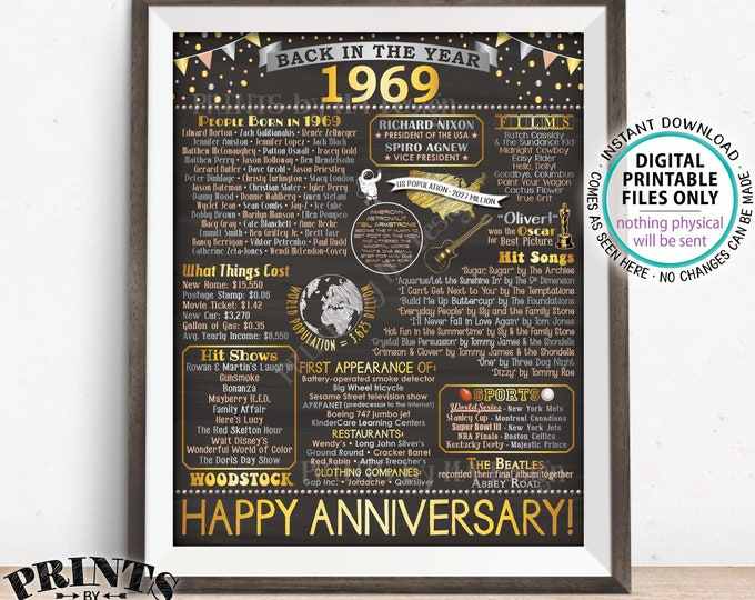 "Back in 1969 Poster, Flashback to 1969 Gift, Anniversary Party Decor, Remember 1969, PRINTABLE 8x10/16x20"" Chalkboard Style 1969 Sign <ID>"
