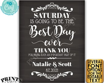 "Editable Rehearsal Dinner Sign, The Best Day Ever, Custom Text, PRINTABLE 16x20"" Chalkboard Style Sign <Edit Yourself with Corjl>"
