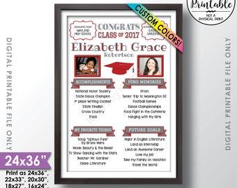 "Graduation Sign, High School Milestones, Graduation Party Welcome Sign, Graduation Party Decorations, School Memories, 24x36"" Printable Sign"