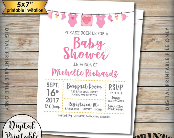 """Baby Shower Invitation, Baby Girl Invitation, It's a Girl Gender Reveal Pink Clothesline, PRINTABLE 5x7"""" Baby Shower Invite"""