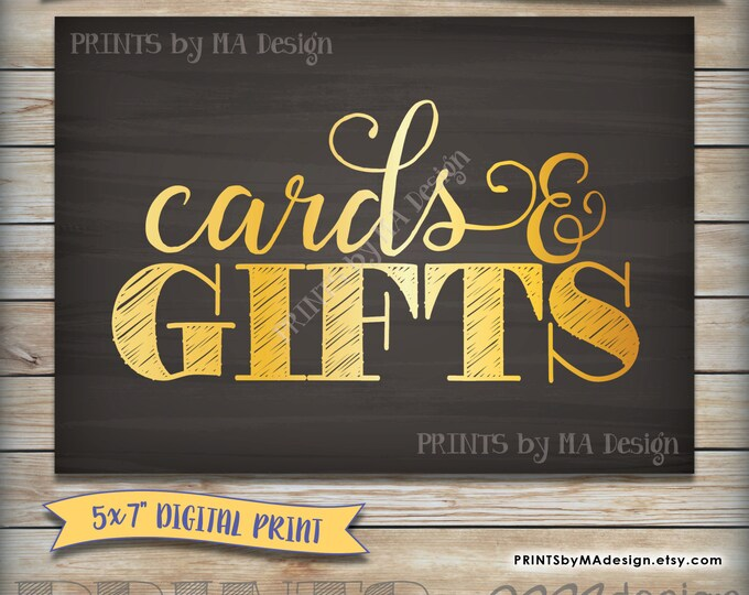 """Cards & Gifts Bridal Shower Sign, Baby Shower Cards and Gifts Sign, Gold Gift Sign, 5x7"""" Chalkboard, Instant Download Digital Printable"""