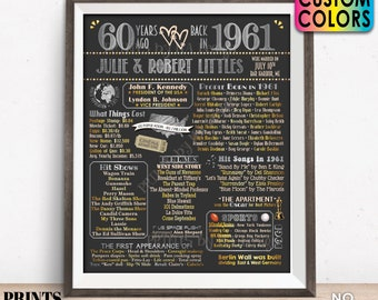 """60th Anniversary Poster Board, Married in 1961 Anniversary Gift, Back in 1961 Flashback 60 Years, Custom PRINTABLE 16x20"""" 1961 Sign"""