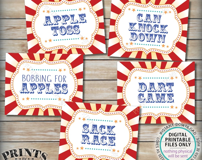 "Carnival Signs, Carnival Games, Bobbing for Apples, Dart, Sack Race, Can Knock, Bundle Pack, Circus Party, PRINTABLE 8x10/16x20"" Signs <ID>"