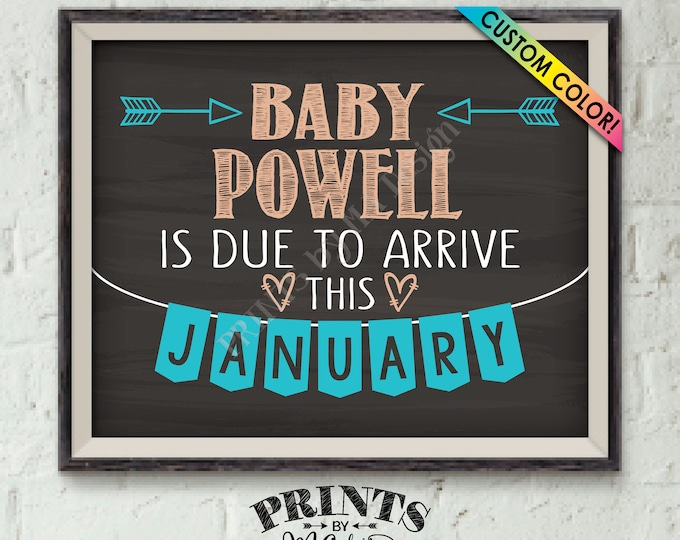 """Pregnancy Announcement, We're Expecting, Pregnant, Having a Baby is Due, Chalkboard Style PRINTABLE 8x10/16x20"""" Custom  Baby Reveal Sign"""