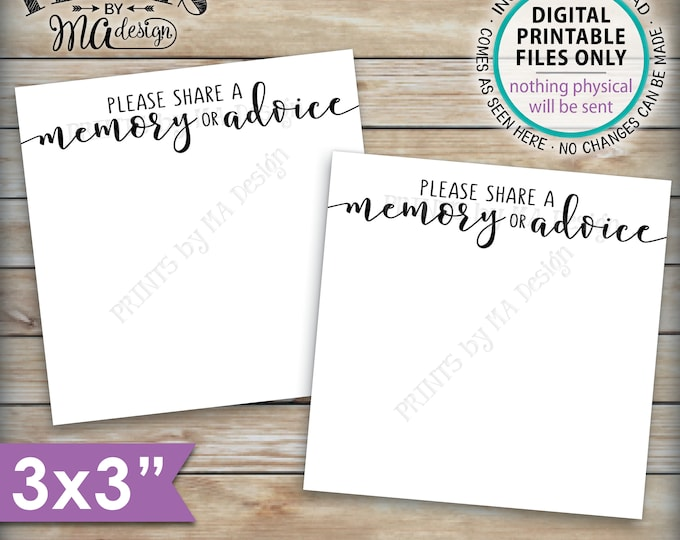 """Please Share a Memory or Advice Cards, Retirement Party Advice, Graduation Party, Six 3"""" Cards per PRINTABLE 8.5x11"""" Sheet <ID>"""